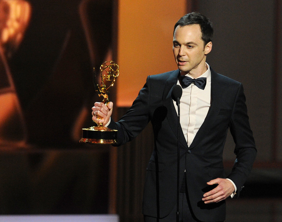 . Winner of the Best Lead Actor in a Comdey Series, Jim Parsons speaks onstage during the 65th Annual Primetime Emmy Awards held at Nokia Theatre L.A. Live on September 22, 2013 in Los Angeles, California.  (Photo by Kevin Winter/Getty Images)