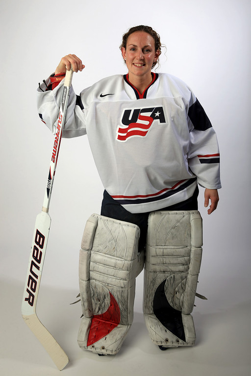 . Ice Hockey player Jessie Vetter poses for a portrait during the USOC Media Summit ahead of the Sochi 2014 Winter Olympics on October 2, 2013 in Park City, Utah.  (Photo by Doug Pensinger/Getty Images)