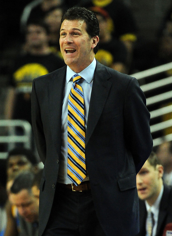 . UCLA head coach Steve Alford smiles in the second half of a PAC-12 NCAA basketball game against Southern California at Galen Center in Los Angeles, Calif., on Saturday, Feb. 8, 2014. UCLA won 83-73. (Keith Birmingham Pasadena Star-News)