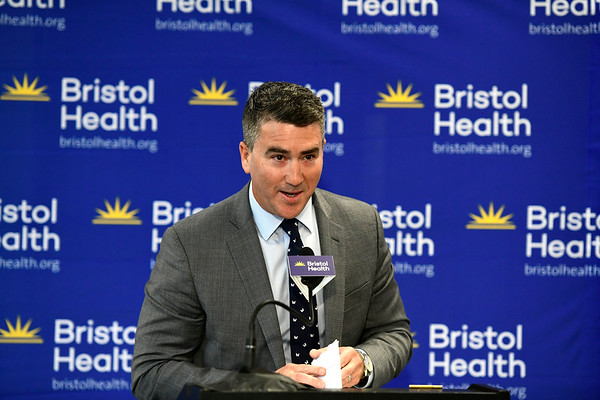 6/7/2019 Mike Orazzi | Staff Rendina Healthcare Real Estate President Steve Barry during the opening for Bristol Health's new downtown building on Friday.