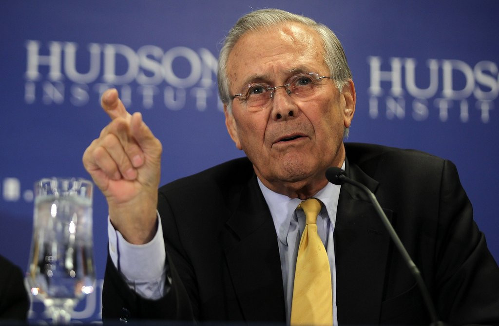 """. <p>9. DONALD RUMSFELD <p>Claims �trained ape� would have better foreign policy than President Obama, just like those chimps that helped him manage the Iraq War. (unranked) <p><b><a href=\'http://www.nydailynews.com/news/politics/donald-rumsfeld-slams-obama-foreign-policy-article-1.1732895\' target=\""""_blank\""""> HUH?</a></b> <p>    (Alex Wong/Getty Images)"""