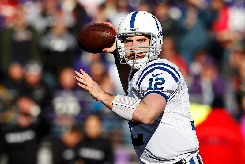 . Indianapolis Colts quarterback Andrew Luck throws a pass against the Baltimore Ravens during the first quarter of their NFL AFC wildcard playoff football game in Baltimore January 6, 2013.   REUTERS/Jonathan Ernst
