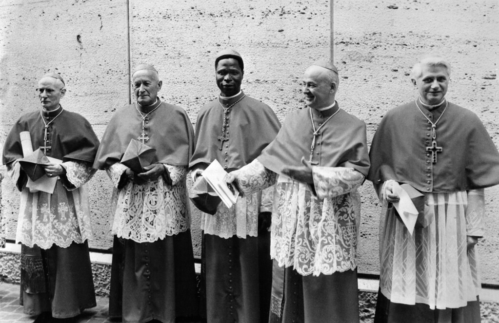 . This photo taken June 7, 1977 shows German cardinal Joseph Ratzinger (R) at the Vatican city next to Cardinals Benelli (2nd R), Gantin (C), Tomazek (2nd L) and Gappi (L). Benin\'s Cardinal Gantin died on May 13, 2008 in Paris at the age of 85, according to an official source in Cotonou. STF/AFP/Getty Images