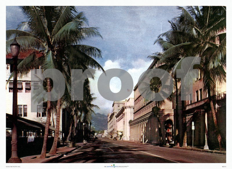 267: 'Bishop Street, Honolulu' Postcard. Ca. 1940. (PROOF watermark will not appear on your print)