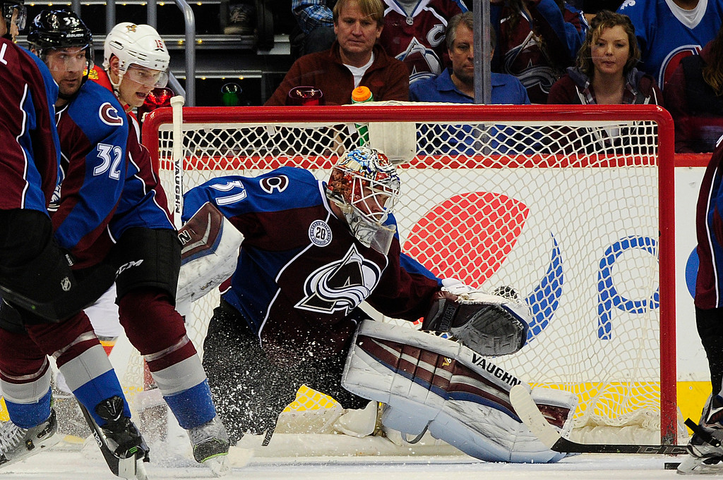 . DENVER, CO - MARCH 3: Colorado Avalanche goalie Calvin Pickard (31) attempts to block a shot during the third period at the Pepsi Center on March 3, 2016 in Denver, Colorado. The Colorado Avalanche defeated the Florida Panthers 3-2. (Photo by Brent Lewis/The Denver Post)