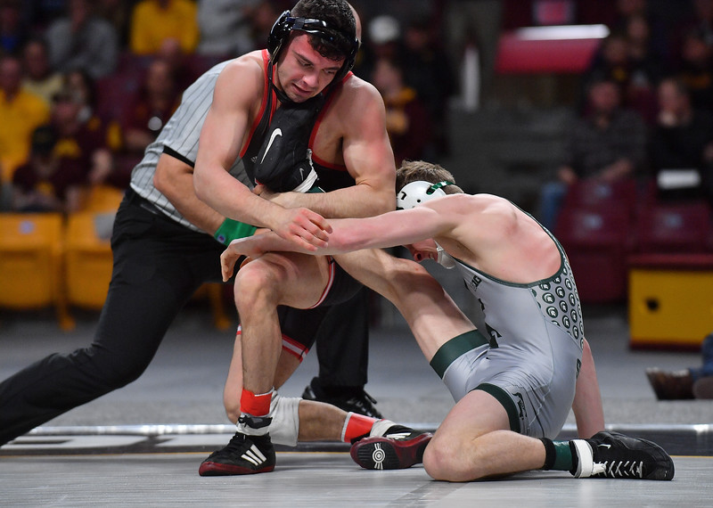 MINNEAPOLIS, MN - MARCH 10:  Peter Lipari wrestles during the 2019 Big Ten Wrestling Championships at Williams Arena in Minneapolis, Minnesota on March 10th, 2019.  (Photo by Sam Wasson for Rutgers Athletics)