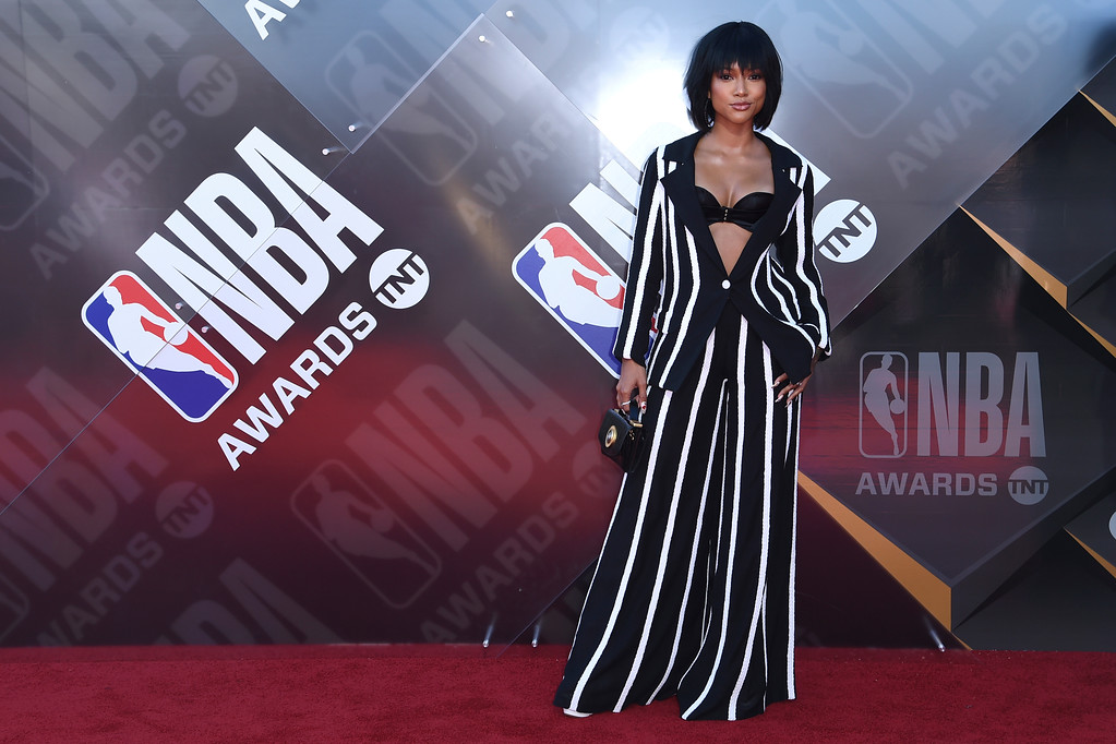 . Karrueche Tran arrives at the NBA Awards on Monday, June 25, 2018, at the Barker Hangar in Santa Monica, Calif. (Photo by Richard Shotwell/Invision/AP)