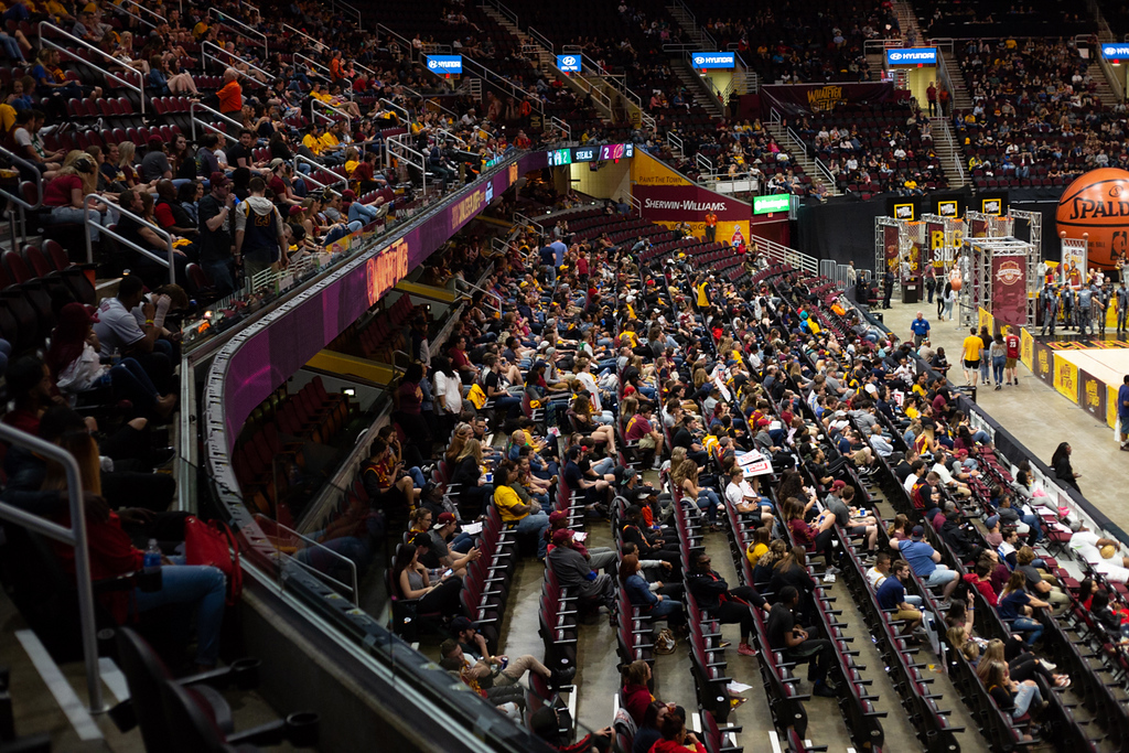 . The crowd watches during an Eastern Conference finals game Cavs Watch Party at Quicken Loans Arena. The watch parties return for Games 1 and 2 of the NBA Finals, as the Cavaliers play the Warriors in Oakland, California. Game 1 is May 31, and Game 2 is June 3. Tickets are $10, and the fun includes games, performances and, of course, the game on the Humongotron. For more information, visit nba.com/cavaliers/playoffs/guide#watch. (Michael Johnson - The News-Herald)