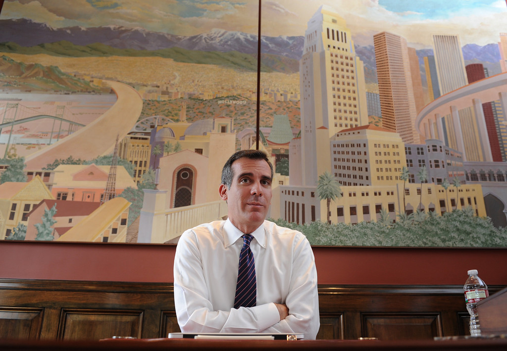 . Photographed in his office at City Hall, Los Angeles Mayor Eric Garcetti is on the eve of his first 100 days in office. Los Angeles, CA. 10/03/2013. photo by (John McCoy/Los Angeles Daily News)