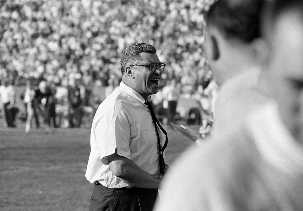 . Green Bay Packers coach Vince Lombardi cheers on his champion team as they swamp the Kansas City Chiefs, 35-10 during Super Bowl I, in Los Angeles, Calif., Jan. 15, 1967. (AP Photo)