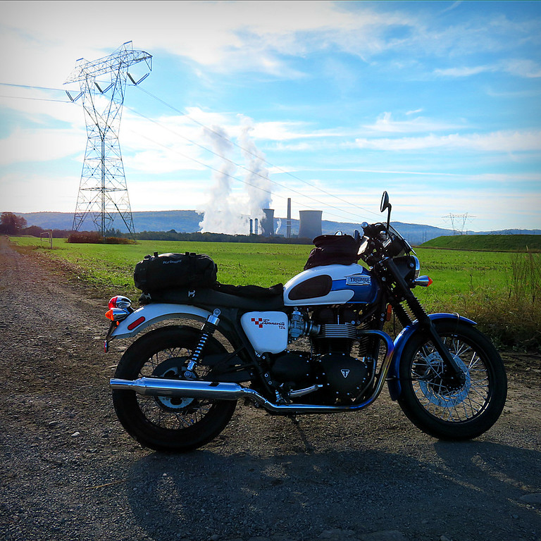 Triumph bonneville nuclear plant - riding Déjà vu - i've been here before