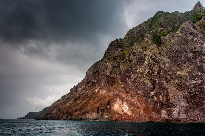 Coastline of the island of Saba