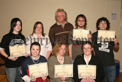"Youth Award Ceremony at the Magnet Young Adult Centre Newry, The ""Engage Group"" who received awards for participation in a Youth Parliament in the Stormont Debating Chamber, also in photograph is Paul Bradley, SELB Senior Youth Worker. 06W22N63"