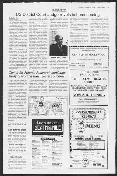 Daily Trojan, Vol. 75, No. 23, October 20, 1978