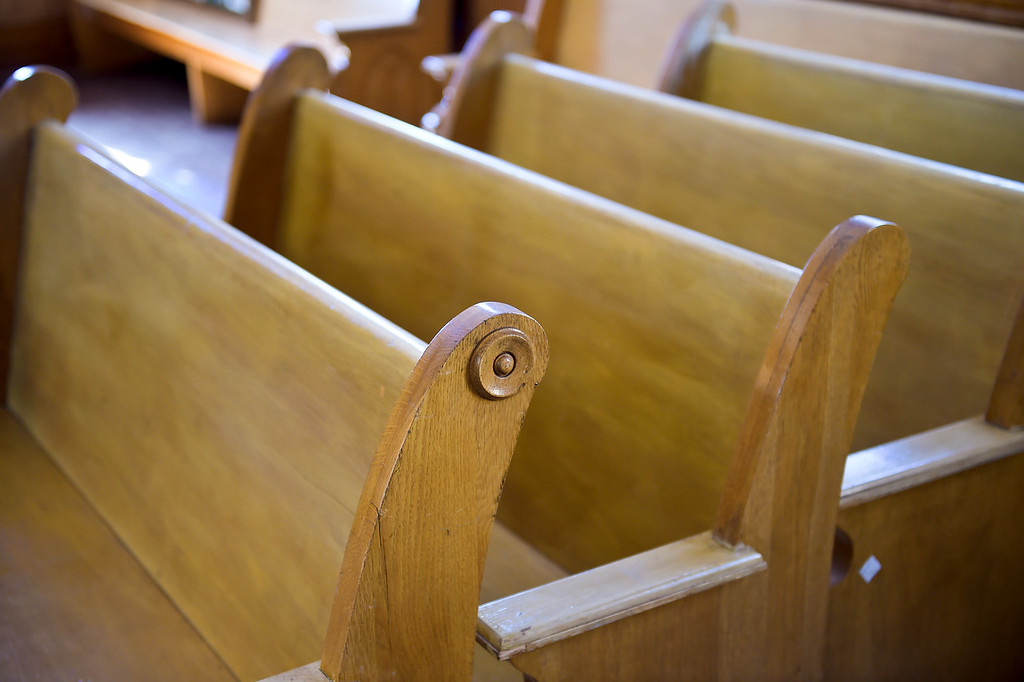 . WARD, CO - SEPTEMBER 13, 2018: Church pews at Union Congregational Church of Ward Sept. 13. A groundbreaking will take place Sunday to herald a $50,000 renovation for the 122-year-old church, the same one whose belltower is featured in a painting by Georgia O\'Keefe.(Photo by Lewis Geyer/Staff Photographer)