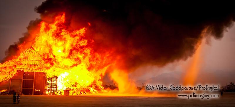 The intense heat creates fire tornados.