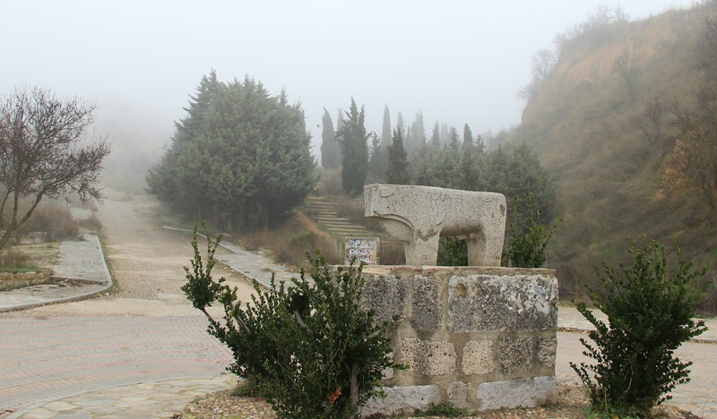 A stone bull scupture in Toro, Spain