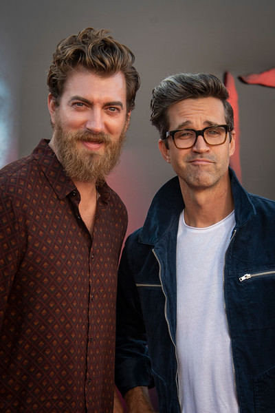 "WESTWOOD, CA - AUGUST 26: Rhett and Link, aka Rhett James McLaughlin Link Neal attend the Premiere Of Warner Bros. Pictures' ""It Chapter Two"" at Regency Village Theatre on Monday, August 26, 2019 in Westwood, California. (Photo by Tom Sorensen/Moovieboy Pictures)"