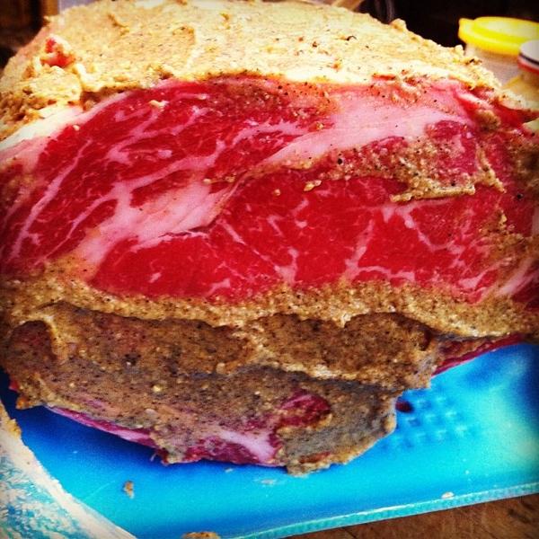 Mustard crusting tomorrow's prime rib roast #foodie #foodgram #jux
