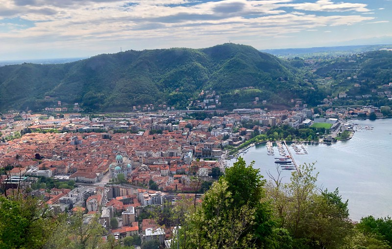 View from the funicular of the town of Como, the largest town on Lake Como