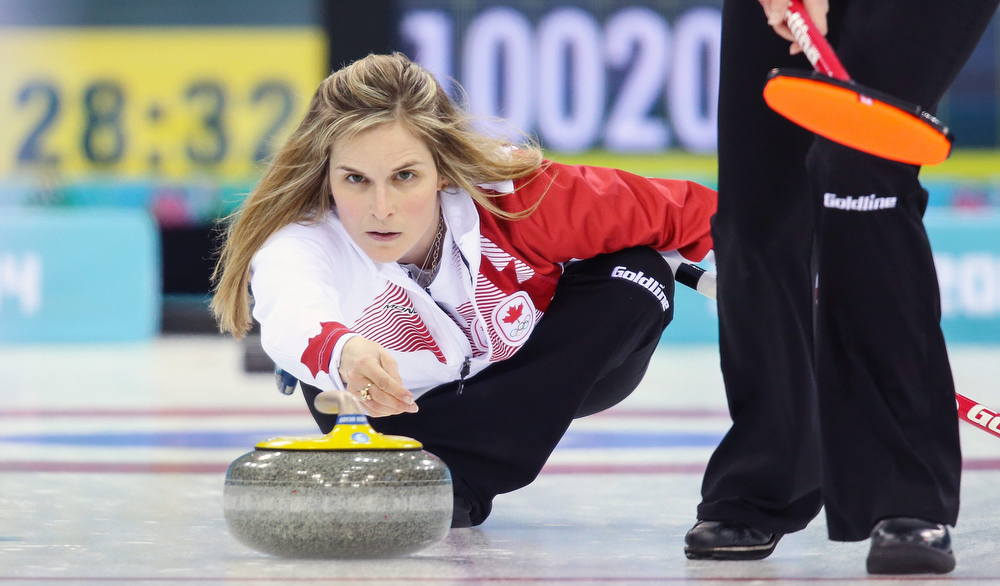. Jennifer Jones of Canada in action during the Women\'s Gold medal match between Sweden and Canada in the Curling competition in the Ice Cube Curling Center at the Sochi 2014 Olympic Games, Sochi, Russia, 20 February 2014.  EPA/HANNIBAL HANSCHKE