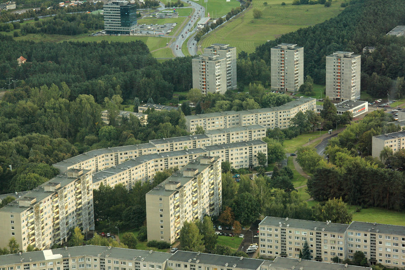 Soviet-era apartment buildings seen from the top of the TV Tower -Vilnius, Lithuania
