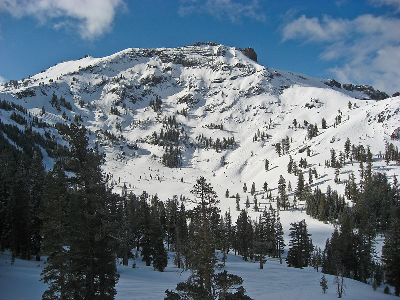 """The view of Kirkwood's Eagle Bowl and """"The Cirque"""" as seen from Chair 2 on a BEATIFUL day on the mountain."""