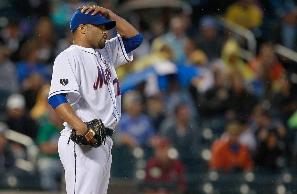 """. <p>6. JOHAN SANTANA <p>Probably can�t pitch anymore, making him the perfect addition to the Twins� staff. (6) <p><b><a href=\'http://nypost.com/2014/02/25/santana-barely-cracks-80-mph-in-workout-with-yankees/\' target=\""""_blank\""""> HUH?</a></b> <p>    (Mike Stobe/Getty Images)"""