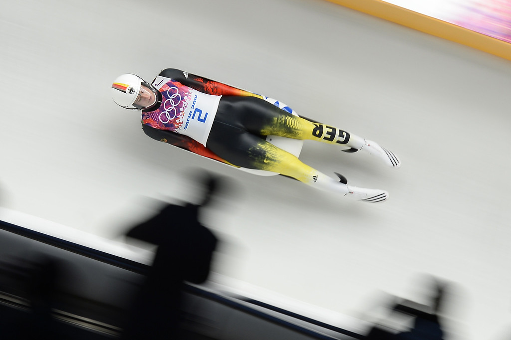 . Germany\'s Natalie Geisenberger competes in the Women\'s Luge Singles Run at the Sliding Center Sanki during the Sochi Winter Olympics on February 10, 2014.  AFP PHOTO / LIONEL BONAVENTURE/AFP/Getty Images