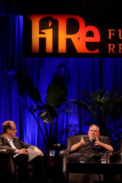 """""""Assessing the H1N1 ('Swine Flu') Pandemic: What to Expect for the Next Few Years"""": Host Alan Smith (L), Founder and CEO, Vesta Health Systems; and Larry Brilliant, President, Skoll Urgent Threats Fund, and Chief Evangelist, Google.org"""