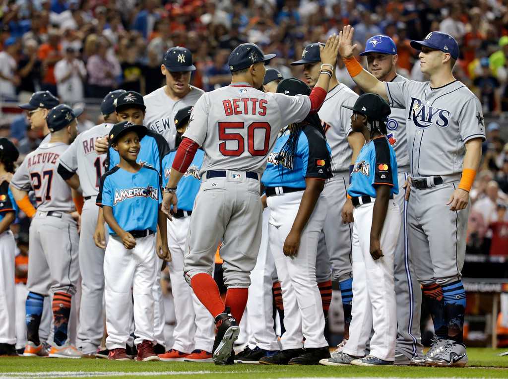 . American League\'s Boston Red Sox Mookie Betts (50) is greeted by his teammates during the MLB baseball All-Star Game, Tuesday, July 11, 2017, in Miami. (AP Photo/Lynne Sladky)