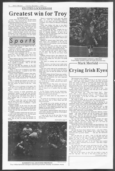 Daily Trojan, Vol. 62, No. 45, December 01, 1970