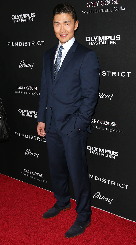 """. Actor Rick Yune attends the Premiere of FilmDistrict\'s \""""Olympus Has Fallen\"""" at the ArcLight Cinemas Cinerama Dome on March 18, 2013 in Hollywood, California.  (Photo by Frederick M. Brown/Getty Images)"""