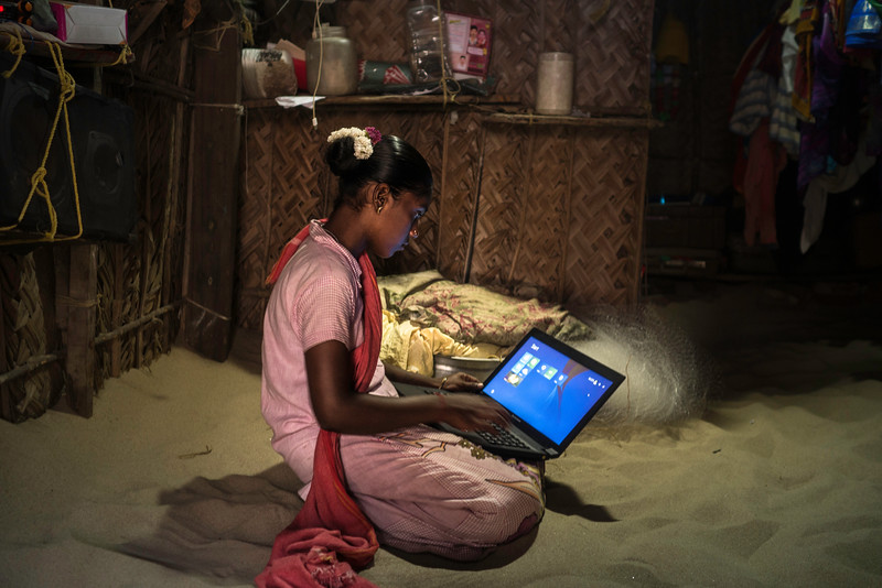 Sharanya became the first girl to get a Government job, to run the small thatched post office at Dhanushkodi earlier in 2017.  It was a government officer from Delhi who spotted her in the small shop run by her family that sells seashells  to  tourists.  She belongs to a  family of fisherfolk.   Sharanya was given the laptop by government on completion of her studies. However, there is no electricity to charge it.
