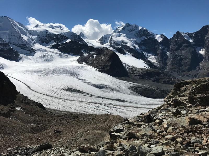 Piz Palü, Bellavista, Crast' Agüzza (small rocky peak in the middle), Piz Bernina and edge of Piz Morteratsch