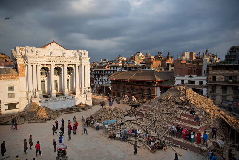 . A general view of the Basantapur Durbar Square that was damaged in Saturdayís earthquake in Kathmandu, Nepal, Sunday, April 26, 2015. The earthquake centered outside Kathmandu, the capital, was the worst to hit the South Asian nation in over 80 years. It destroyed swaths of the oldest neighborhoods of Kathmandu, and was strong enough to be felt all across parts of India, Bangladesh, China\'s region of Tibet and Pakistan.(AP Photo/Bernat Armangue)