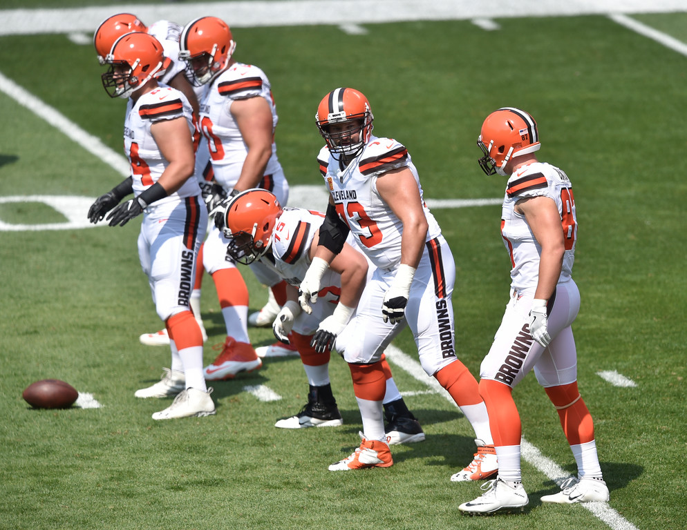 . Cleveland Browns tackle Joe Thomas (73) and the Browns offensive line during an NFL football game against the Pittsburgh Steelers, Sunday, Sept. 10, 2017, in Cleveland. Pittsburgh won 21-18. (AP Photo/David Richard)