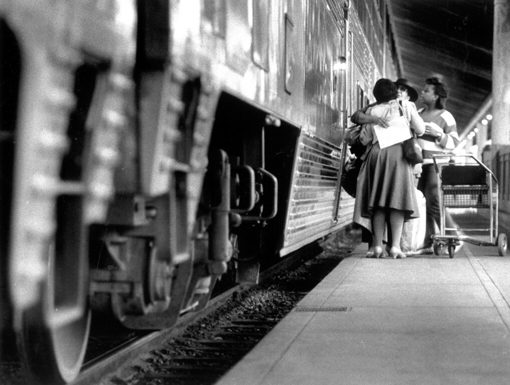 . Families say goodbye before getting on train at Union Station.    (Los Angeles Daily News file photo)