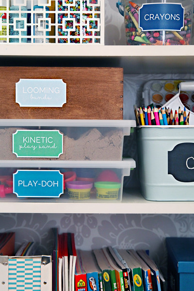 Kid's Craft Cabinet Organization