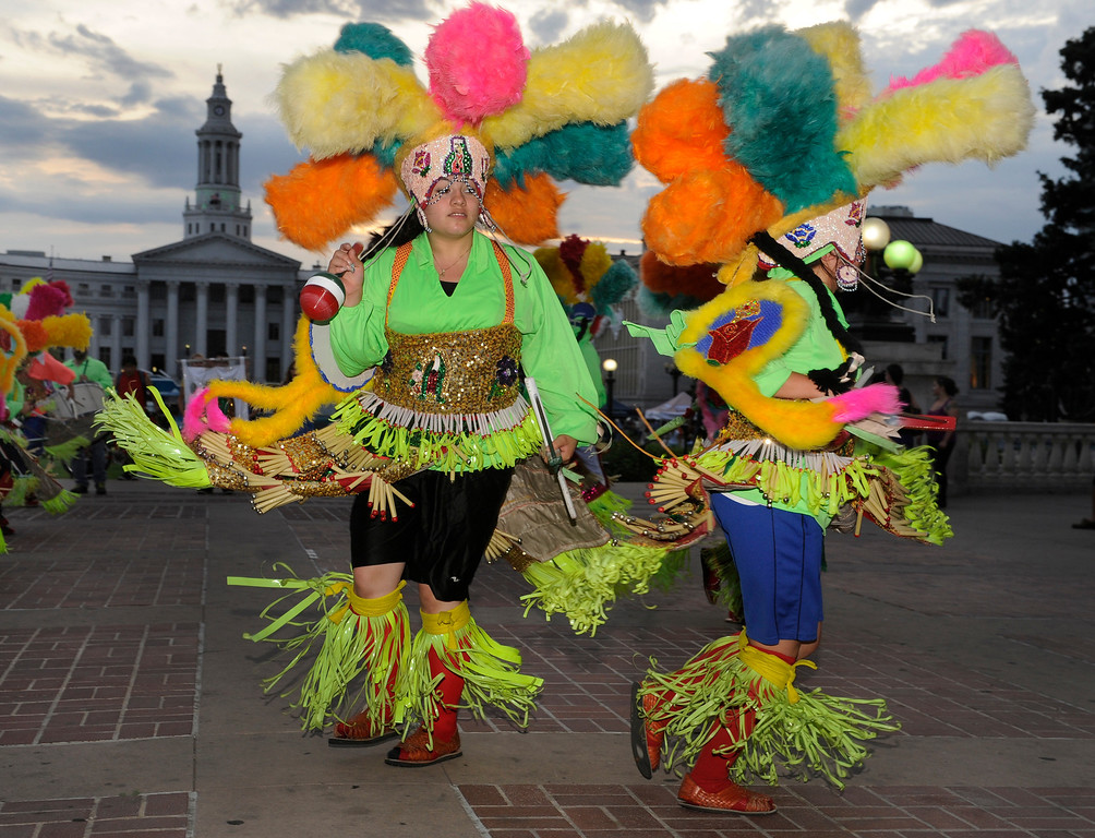 . Members of the Danza Guadalupana Matachina Tlaxcaltecas troupe performed Thursday night. Denver celebrated Mexico Night in Civic Center Park Thursday night, July 18, 2013.   Photo By Karl Gehring/The Denver Post