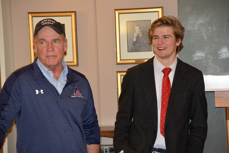 Coach John Gardner and Varsity Hockey Co-Captain Gentry Shamburger '20