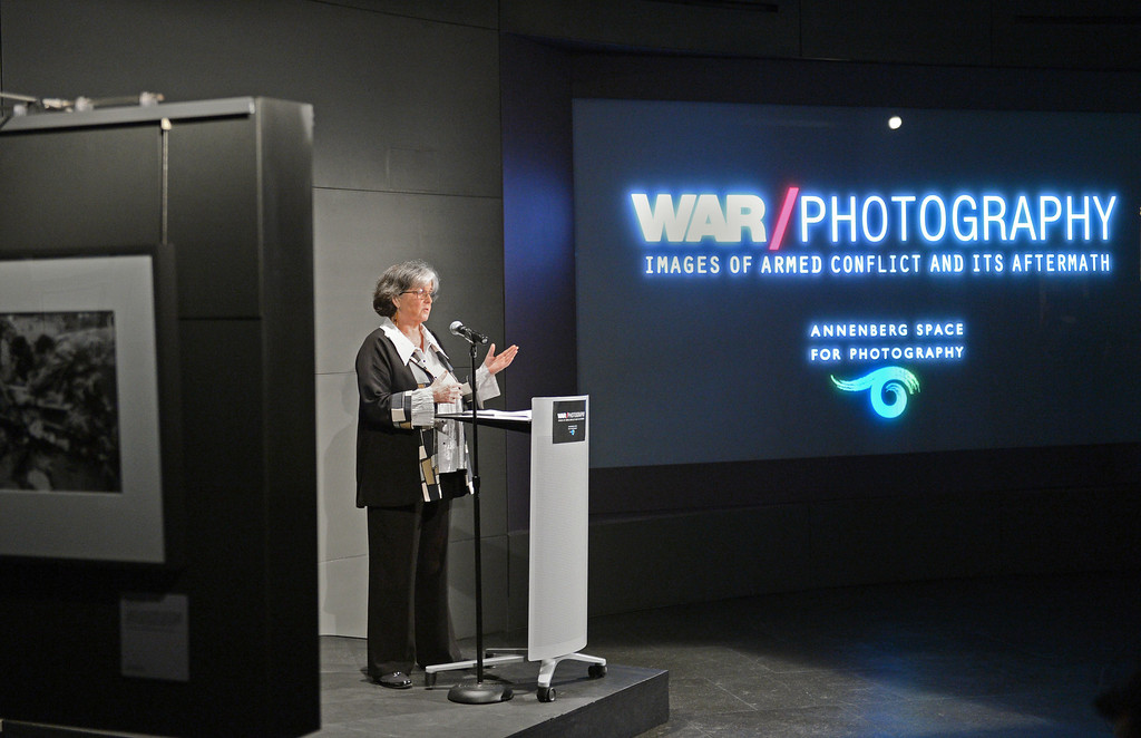. Anne Wilkes Tucker is the curator of WAR/Photography - Images of Armed Conflict and its Aftermath. Photography exhibit at the Annenberg Space for Photography. Photo by Brad Graverson 3-20-13