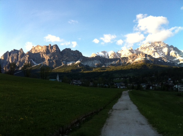 dolomites with path and village.JPG