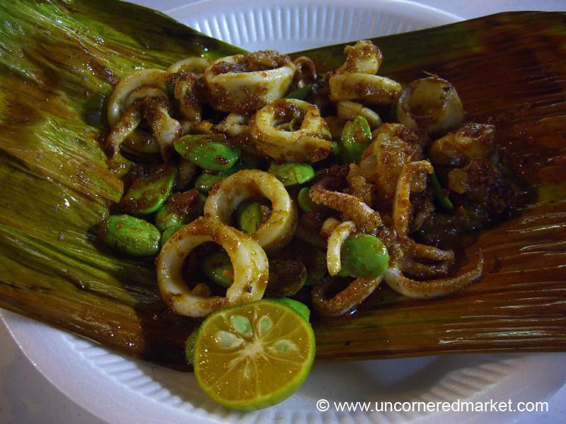 Malaysian Food, Squid and Fava Beans - Penang, Malaysia