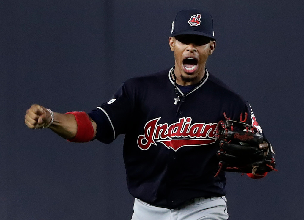 . Cleveland Indians shortstop Francisco Lindor reacts after catching a pop up by New York Yankees\' Starlin Castro to end the sixth inning in Game 3 of baseball\'s American League Division Series, Sunday, Oct. 8, 2017, in New York. (AP Photo/Frank Franklin II)