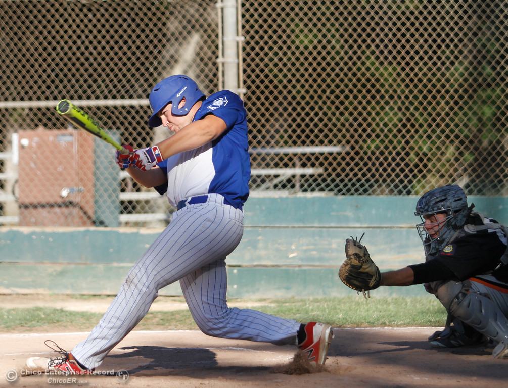 . Chico Nuts\' Dalton Smith hits down center field for a run scoring single against Oroville Post 95 Wednesday July 12, 2017 at Ron Doryland Field in Chico, California.  (Emily Bertolino -- Enterprise-Record)