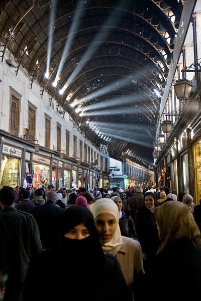 Damascus, Syria - January 2008: Beams of light in the ancient covered bazaar (souk) in downtown Damascus.  (Photo by Christopher Herwig)