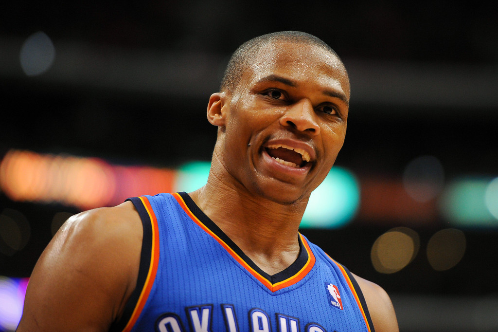 . The Thunder\'s Russell Westbrook vents to the crowd in the fourth quarter. (Photo by Michael Owen Baker/Los Angeles Daily News)