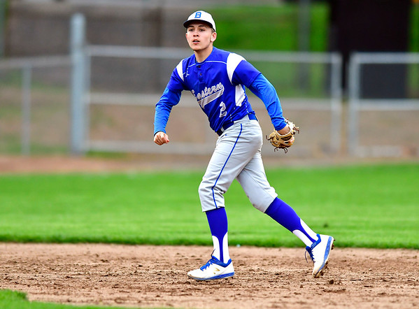 5/1/2019 Mike Orazzi | Staff Bristol Eastern's Anthony Marrotti (2) at Muzzy Field Wednesday evening.