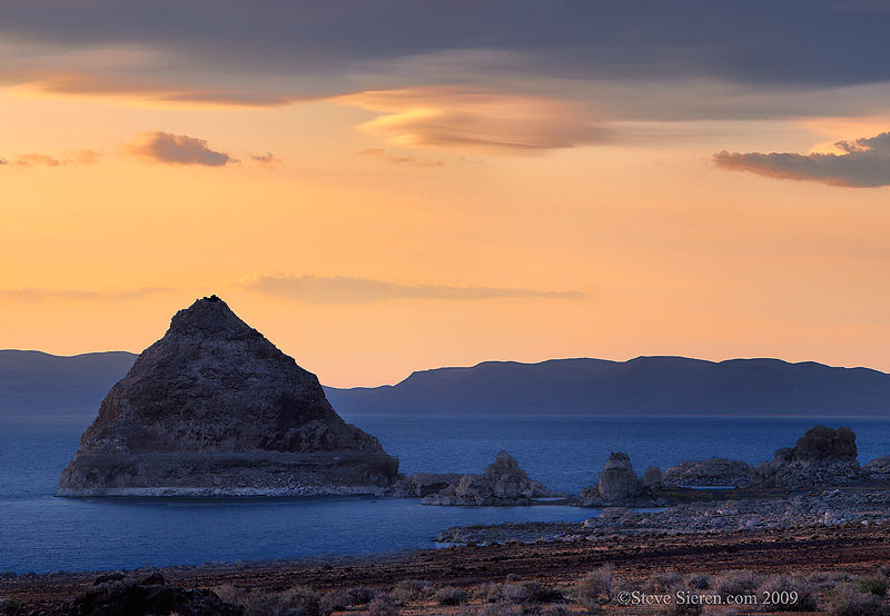 Sunset view of a lake in Nevada